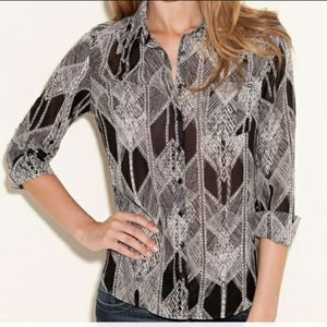 Guess Printed Sheer Button Down Top XS